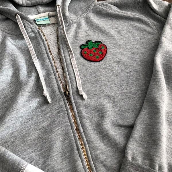 jordgubbe glitter tröja tygmärke