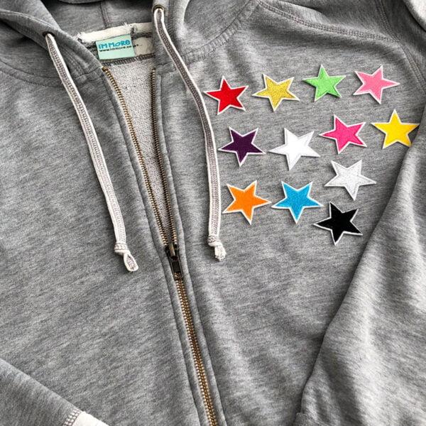 stjärnor färgglada tröja tygmärke