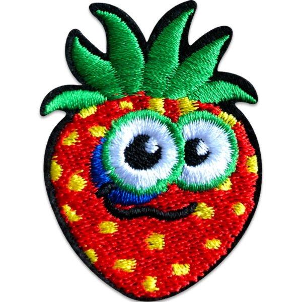 Kul jordgubbe - blåtira - tygmärke
