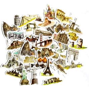 Klistermärken kända byggnader och statyer