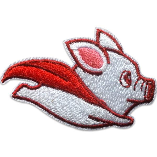 flygande gris med röd mantel - tygmärke