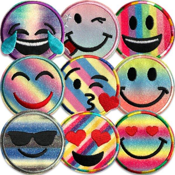 Flera glittriga smiley i flera färger