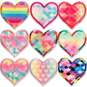 glitter hjärtan tygmärken 9 st