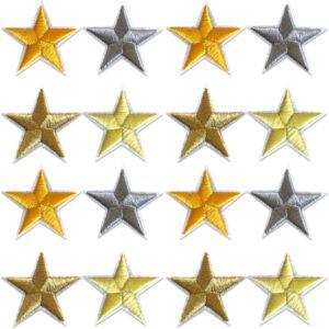16-pack silver- guldfärgade broderade stjärnor