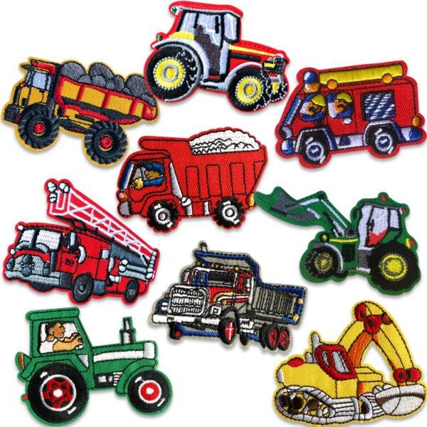 stortpack Tygmärken traktor, brandbil, grävmaskin, lastbil