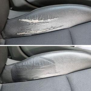 Lagning av bilsäte med grå självhäftande läderlapp