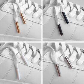 Flera varianter av dubbar för att laga trasiga skosnören