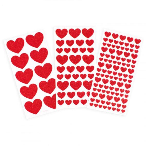 stickers för barn - glittriga röda hjärtan - 146 st