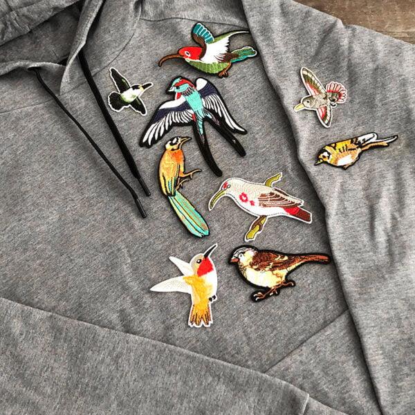 fåglar tygmärken tröja