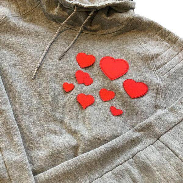 hjärtan tygmärken tröja