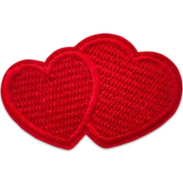 Rött dubbelhjärta - tygmärke att stryka på