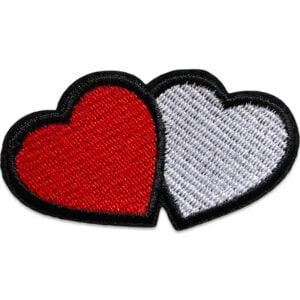 tvillinghjärta tygmärke - rött hjärta vitt hjärta - broderade