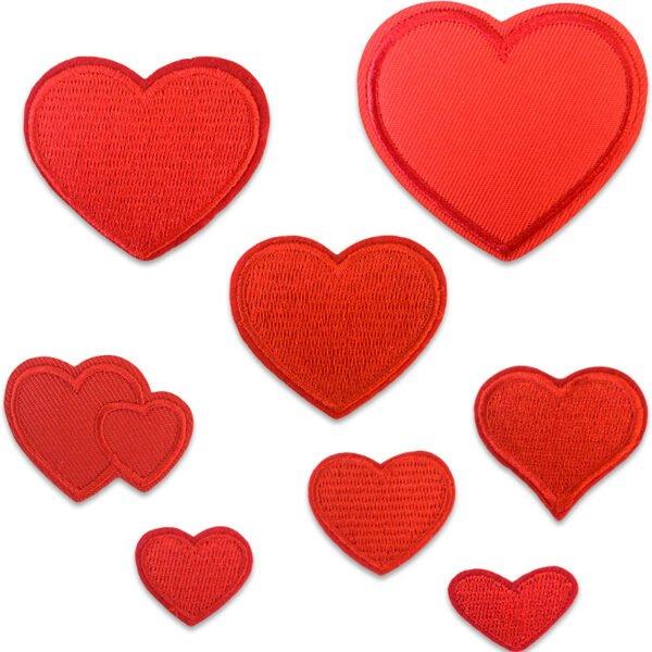 samling röda tygmärken röda hjärtan