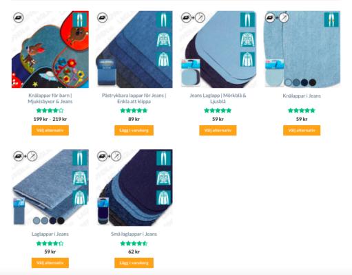 Kategorisida med nya produktbilder försedda med ikoner