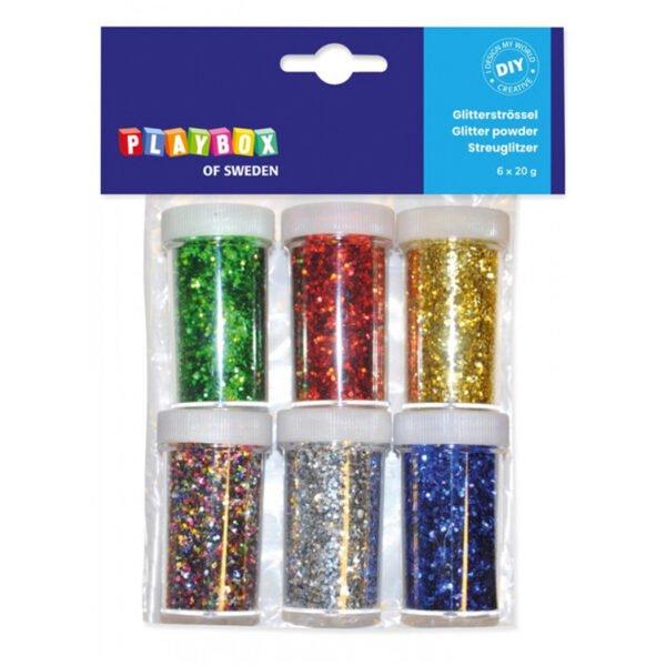 glitterströssel - 6 basfärger