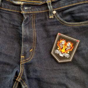 tiger emblem tygmärke på byxa