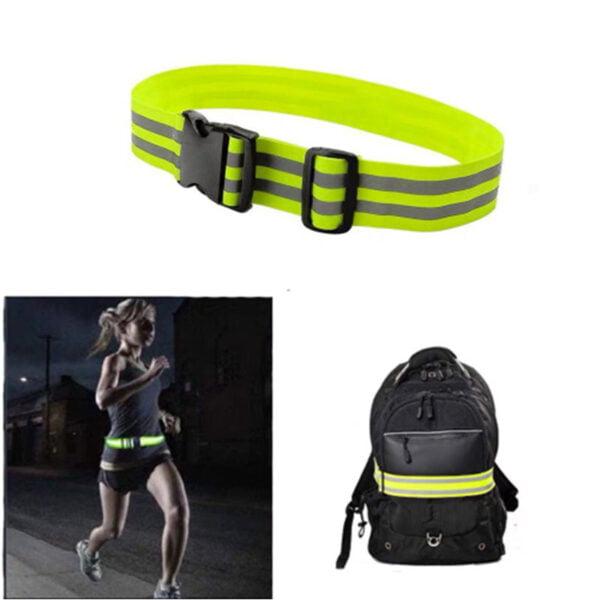 Reflexbälte på ryggsäck och runt midjan på joggare