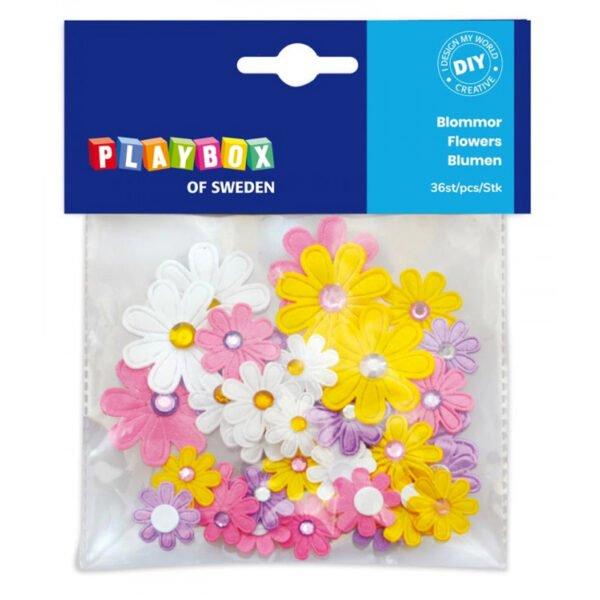 självhäftande blommor pyssel