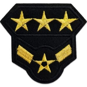 tygmärke militär tre stjärnor