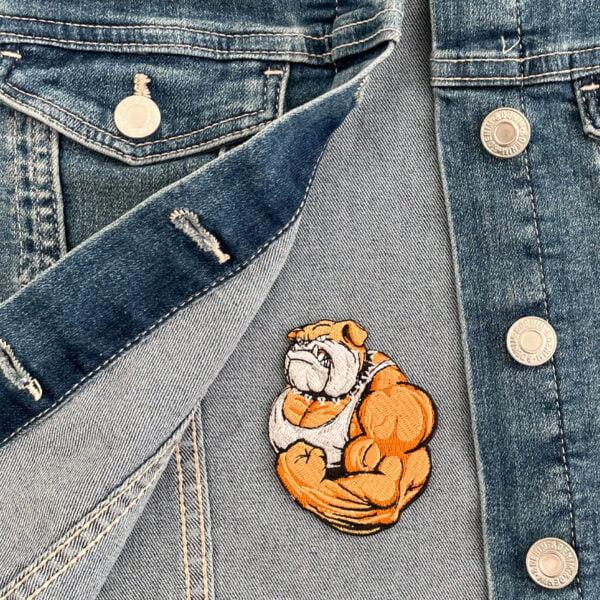 tygmärke stark bulldog jeansjacka