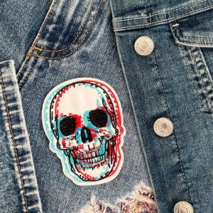 tygmärke dödskalle 3d kläder