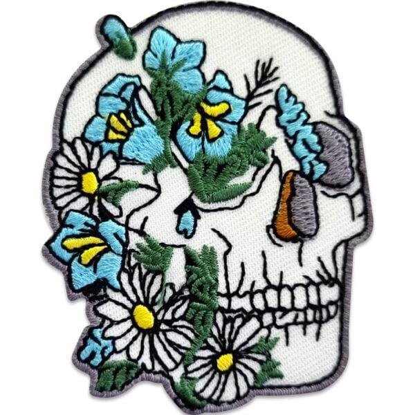 dödskalle blommor tygmärke