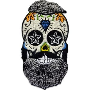 Hipster skull - tygmärke