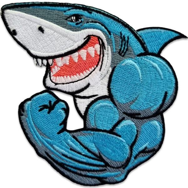 Gym Bro - Stryka på märke - haj med muskler