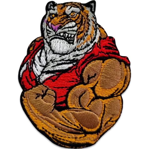 Stong man patch - broderat tygmärke - muskulös tiger