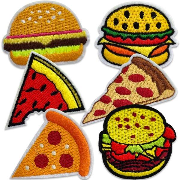 tygmärken hamburgare pizza