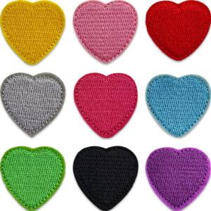 tygmärken hjärtan i flera färger