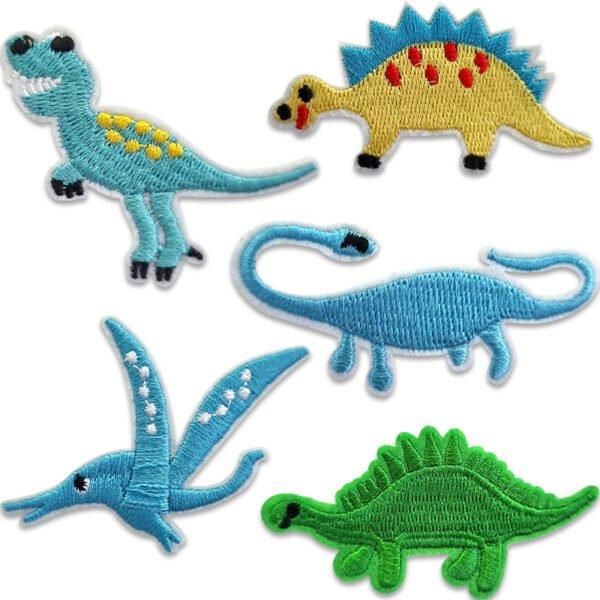 5-pack broderade tygmärken dinasaurier